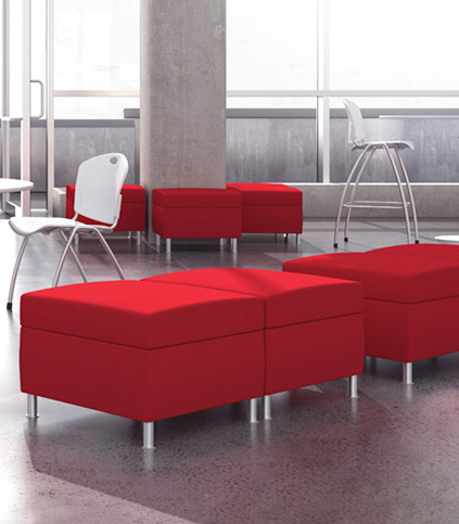 Composium Ottoman and Benches in a modern setting.