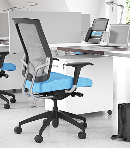 Focus Work Highback Upholstered Task Chair with Fixed Arms