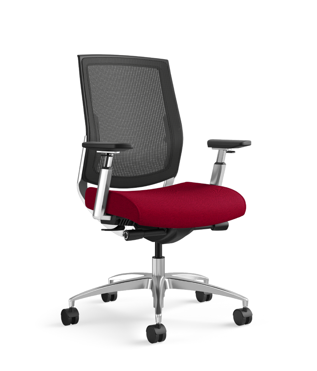 Charmant Focus Executive Highback Mesh Chair, Designtex Rocket Flame, Polished  Aluminum Base