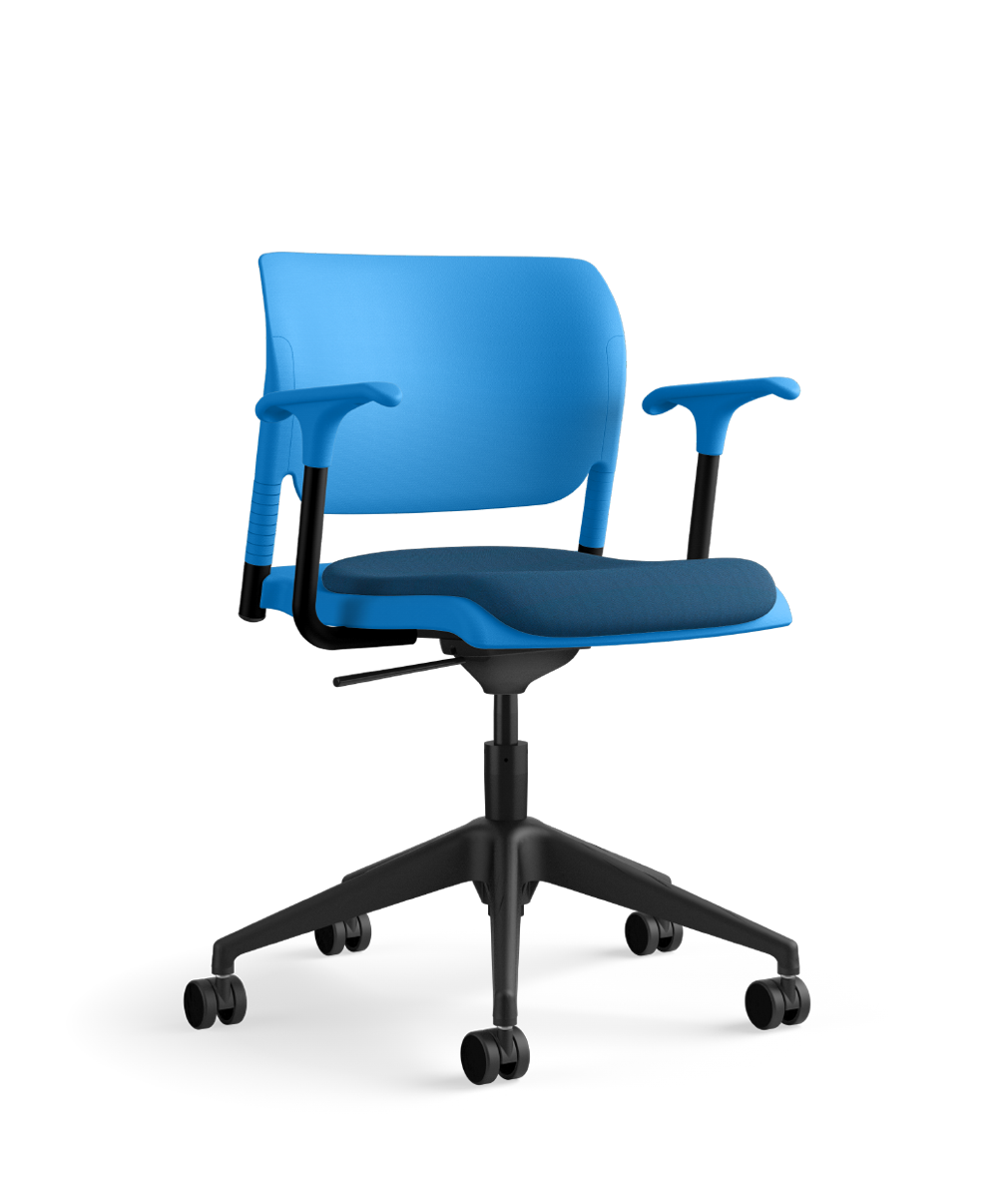 InFlex task chair, sterling shell, SitOnIt Pop Electric Blue