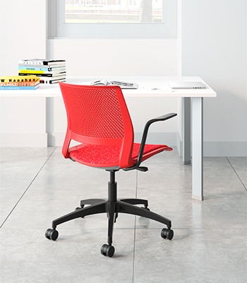 Lumin Light Task Chair, Red Shell, Upholstered Seat, SitOnIt Seating  Panorama Firehouse,